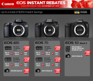 Instant Rebates on Canon Cameras and Lenses