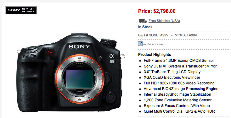 Sony A99 Limited Stock