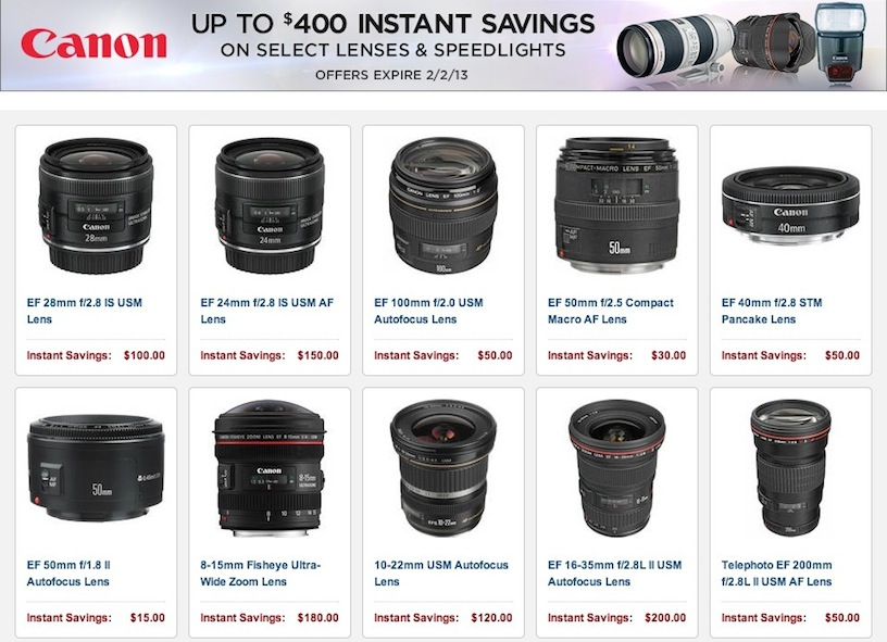 2 Days to Save on Canon Lenses