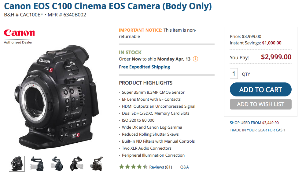 Huge Price Drop on the Canon C100 and C300
